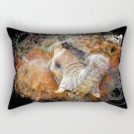 Elephant Bursting Through Rectangular Pillow