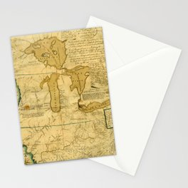 Map Of Great Lakes 1785 Stationery Cards