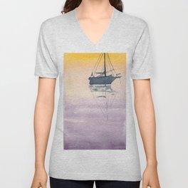 Sunrise Sailboat in the Maritmes Unisex V-Neck