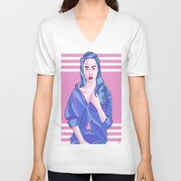 bubblegum V-neck T-shirts featuring Bubblegum by Ale Caballero