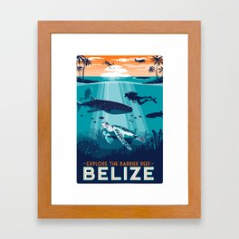 Belize Travel poster vintage tropical reef Framed Art Print