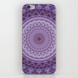 Mandala in violet and white tones iPhone Skin