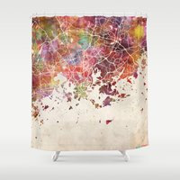 finland Shower Curtains featuring Helsinki by MapMapMaps.Watercolors