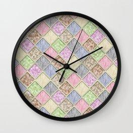 Colorful Seamless Rectangular Geometric Pattern IV Wall Clock