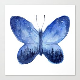Blue Galaxy Butterfly Canvas Print