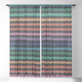 Knitted rainbow Sheer Curtain