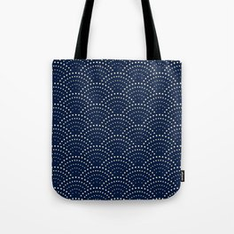 Japanese Blue Wave Seigaiha Indigo Super Moon Pattern Tote Bag