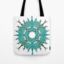 Light Blue Digital Lace Pattern Tote Bag