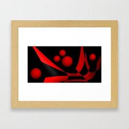 bicubic waves red on black Framed Art Print