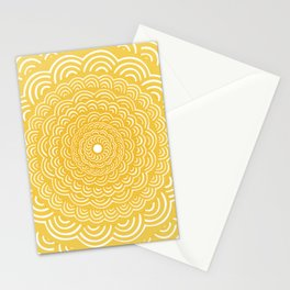 Spiral Mandala (Yellow Golden) Curve Round Rainbow Pattern Unique Minimalistic Vintage Zentangle Stationery Cards