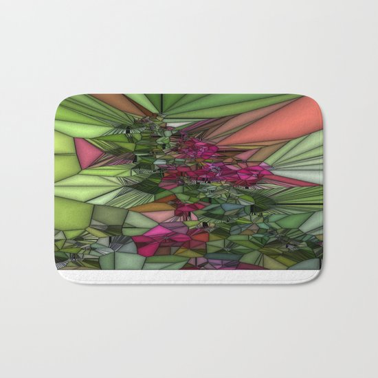 Pink and Green Glass Bath Mat