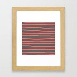 Living Coral Stripes on Gray Framed Art Print