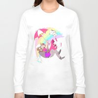 bee and puppycat Long Sleeve T-shirts featuring Puppycat Rainbow Fall by Beta PV