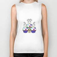 polkadot Biker Tanks featuring Cute Monster With Pink And Blue Polkadot Cupcakes by Mydeas