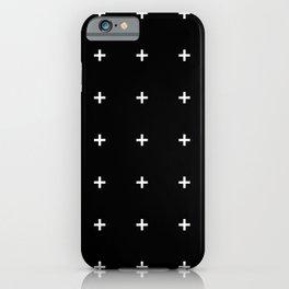 PLUS ((white on black)) iPhone Case