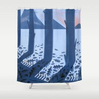 sasquatch Shower Curtains featuring Search for Sasquatch by Robert John Paterson
