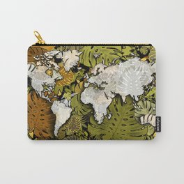 world map tropical leaves 5 Carry-All Pouch