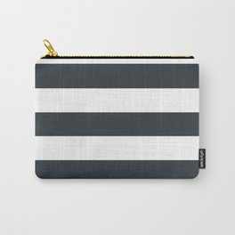 Gunmetal - solid color - white stripes pattern Carry-All Pouch