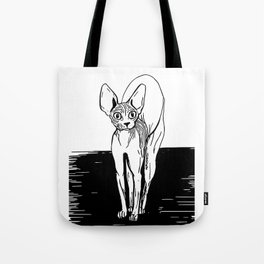 Black and White Sphynx Cat Line Drawing - Sphynx Lovers Gift - Naked Cat - Wrinkly Kitty Tote Bag