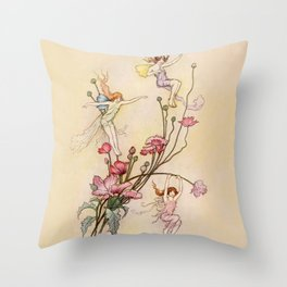 """""""Three Spirits Mad With Joy"""" Art by Warwick Goble Throw Pillow"""