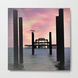 West Pier Silhouette Metal Print