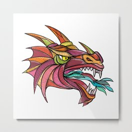 Dragon Breathing Fire Mandala Metal Print