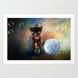 Playful cute black kitten Art Print