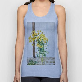 sun choke flowers outside a house Unisex Tank Top