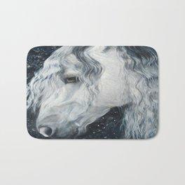 Long Haired White Horse Bath Mat