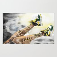 nike Area & Throw Rugs featuring Nike in the sky by DCGreenArt