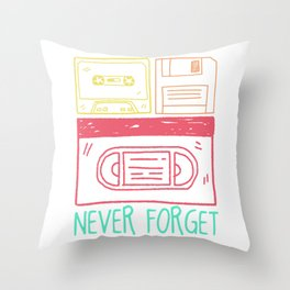 Nineties Old School Cassette Discs Throw Pillow