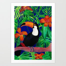 Toucan in colourful forest Art Print