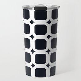 RoundSquares White on Black Travel Mug