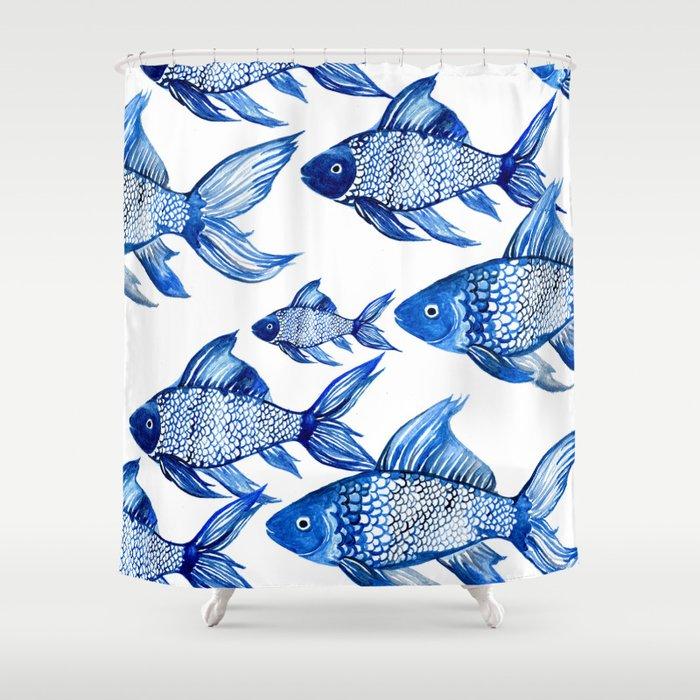 BLUE SCHOOL OF FISH Shower Curtain