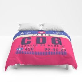 Retro Airline Luggage Tag - CDG Paris Charles de Gaulle Comforters