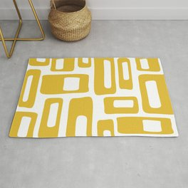 Retro Mid Century Modern Abstract Pattern 336 Mustard Yellow Rug