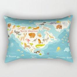 Animals world map, North America. Colorful cartoon vector illustration for children and kids. Presch Rectangular Pillow