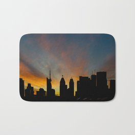Skyline Sunset City Silhouette Bath Mat