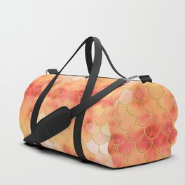 Apricot & Gold Mermaid Scale Pattern Duffle Bag