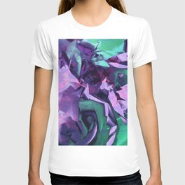 Restless Unicorn. Dynamic Purple and Teal Abstract. T-shirt