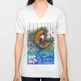Mermaid in the moon Unisex V-Neck
