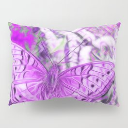 Ultra-violet butterfly and abstract background Pillow Sham