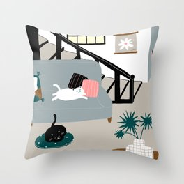STAY AT HOME WITH CATS Throw Pillow
