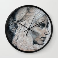 mother of dragons Wall Clocks featuring Mother by Clayton Young