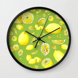 Lemon Lust on Green Wall Clock
