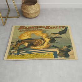Vintage poster - Circus Horse Jumping Through Fire Rug