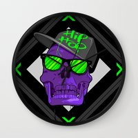 hip hop Wall Clocks featuring Hip Hop 4 life by Mike Karolos
