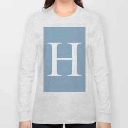 Letter H sign on placid blue color background Long Sleeve T-shirt