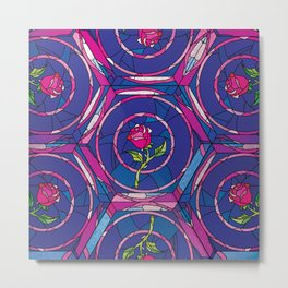 Beauty and the Beast Rose Pattern Metal Print