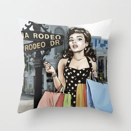 Retro Pinup Girl Shopping on Rodeo Drive Throw Pillow